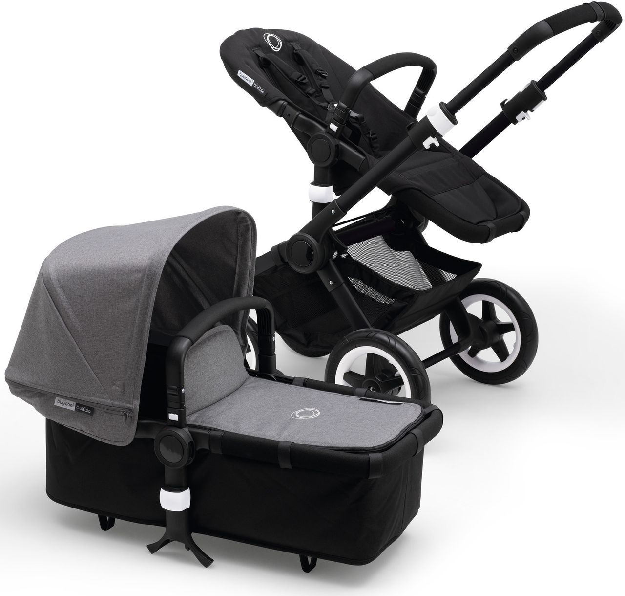 bugaboo buffalo kinderwagen schwarz grey melange kleine fabriek. Black Bedroom Furniture Sets. Home Design Ideas
