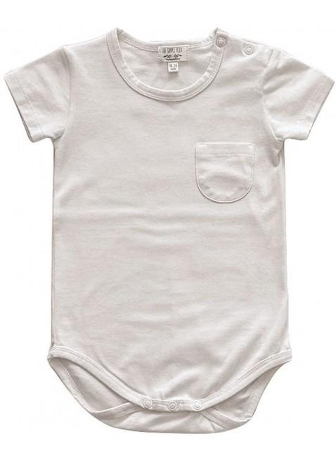 The Simple Folk Kurzarm Baby-Body Pocket Naturweiß