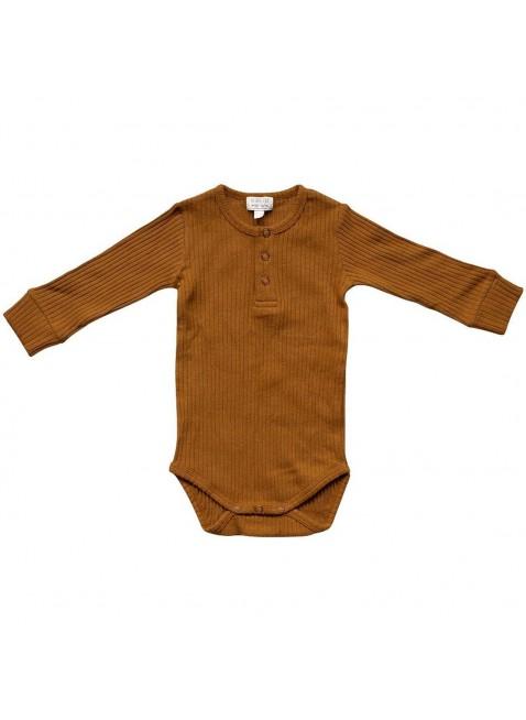 The Simple Folk Langarm Baby-Body Ribbed Bronze