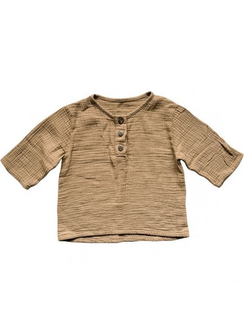 The Simple Folk Baby-Shirt Musselin Henley Camel