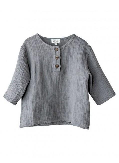The Simple Folk Baby-Shirt Musselin Henley Lead Gray