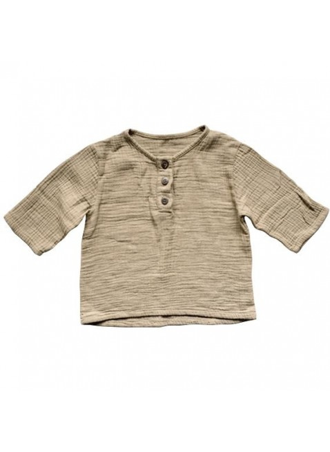 The Simple Folk Baby-Shirt Musselin Henley Sand