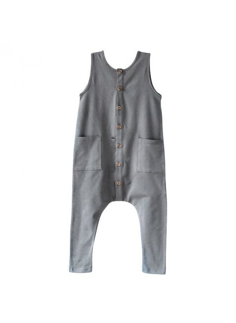 The Simple Folk Baby-Overall Free-Range Lead Gray