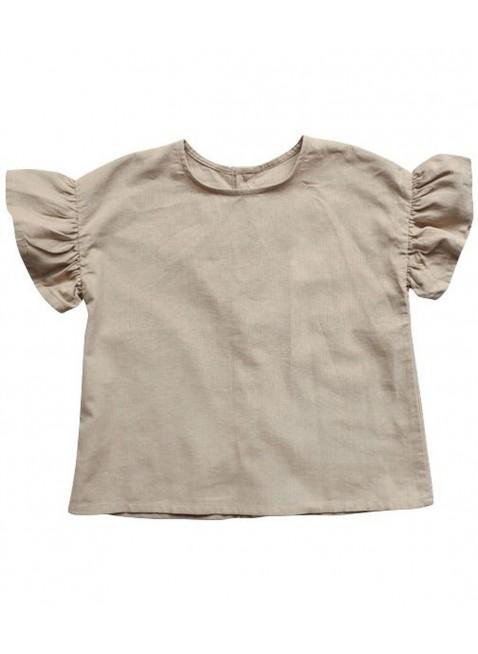 The Simple Folk Baby-Shirt Leinen Frill Oatmeal