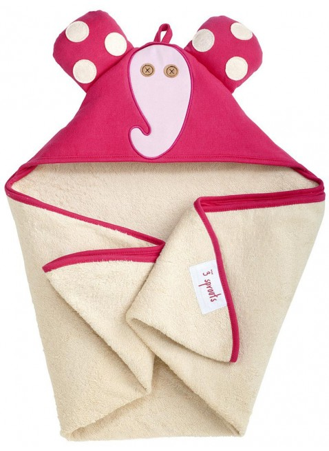 3 Sprouts Kapuzenbadetuch Elefant Pink