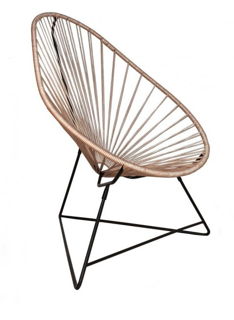 Boqa Acapulco Chair Design-Sessel Schwarz/Leder Roségold - Kleine Fabriek