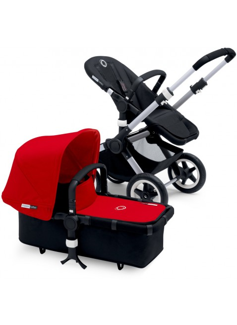 Bugaboo Buffalo Kinderwagen Set Silber / red