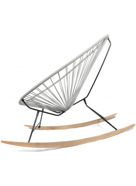 Boqa Acapulco Chair Wood Rocker Design-Schaukelstuhl Schwarz/Hellgrau - Kleine Fabriek