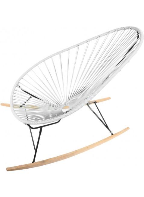 Boqa Acapulco Chair Wood Rocker Design-Schaukelstuhl Schwarz/Weiß - Kleine Fabriek