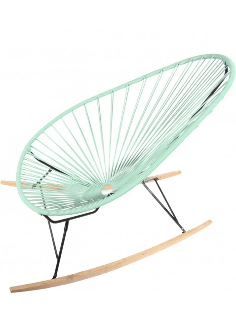 Boqa Acapulco Chair Wood Rocker Design-Schaukelstuhl Schwarz/Mint - Kleine Fabriek