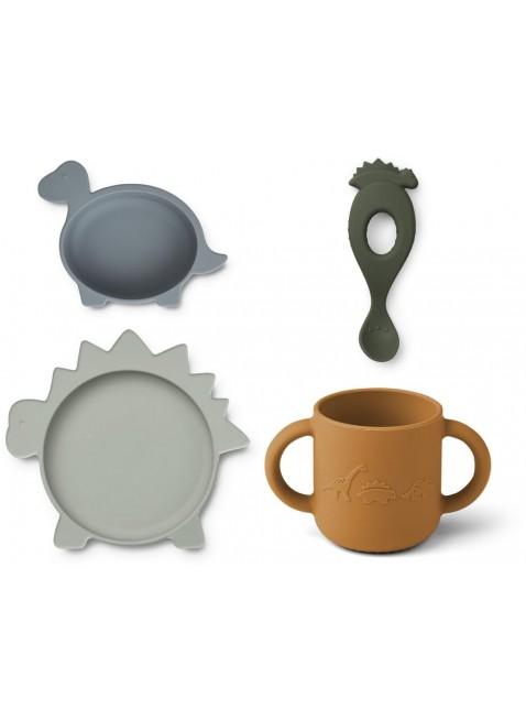 Liewood Silikon Geschirr-Set Dino Blue Mix kaufen - Kleine Fabriek