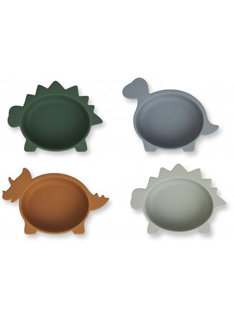 Liewood Silikon-Schüssel Set Dino Blue Multi Mix kaufen - Kleine Fabriek