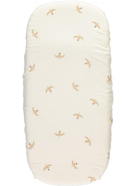 Nobodinoz Spannbettlaken für Wiege 40x80 cm Melody Nude Haiku Birds Natural