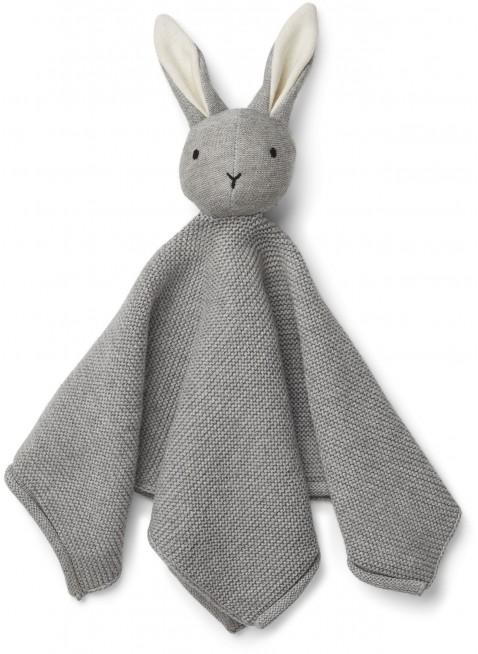 Liewood Baby Strick-Schmusetuch Milo Hase Dumbo Grey - Kleine Fabriek