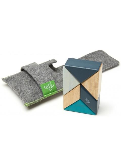 Tegu Magnetbausteine Holzset inkl. Filzbeutel Prisma Blau 6 Teile - Kleine Fabriek