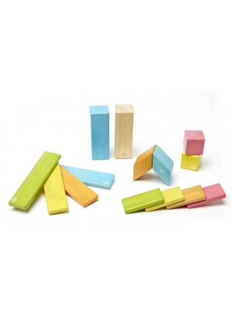 Tegu Magnetbausteine Holzset 14 Teile Farbig - Kleine Fabriek