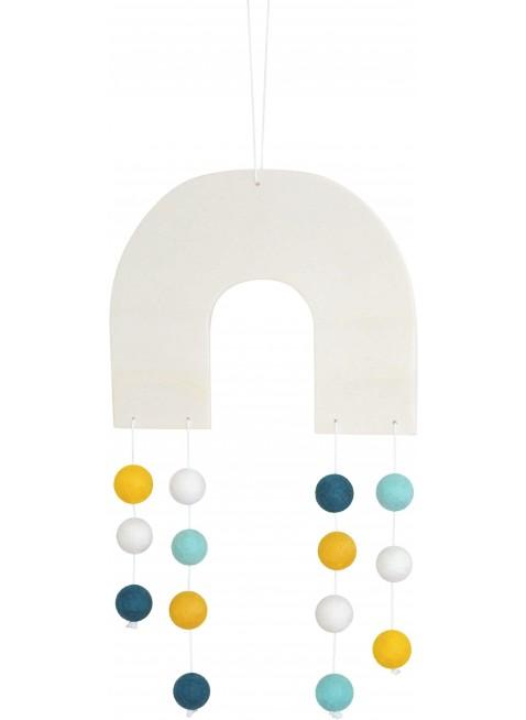 Regenbogen Filz-Mobile Mint/Weiß/Gelb von CALM for Dreamers kaufen - Kleine Fabriek
