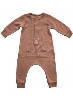 The Simple Folk Baby-Overall Long John Frottee Cinnamon