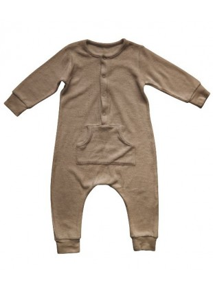 The Simple Folk Baby-Overall Long John Frottee Walnut