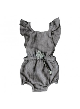The Simple Folk Baby-Romper Musselin Ruffle Lead Gray