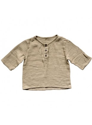 The Simple Folk Baby-Shirt Musselin Henley Sand