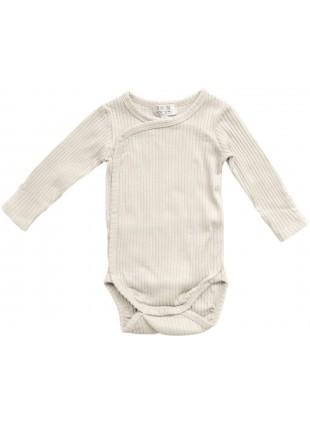 The Simple Folk Langarm Baby-Body Ribbed Kimono Naturweiß