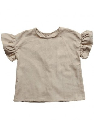 The Simple Folk Baby-Shirt Leinen Frill Oatmeal