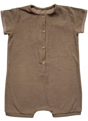 The Simple Folk Kurzarm Baby-Overall Frottee Walnut