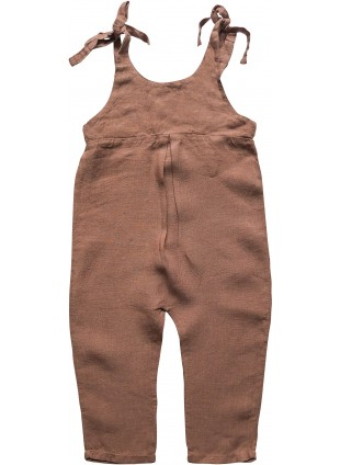 The Simple Folk Baby-Latzhose Leinen Top Tie Cinnamon