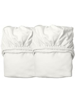 Leander Laken Set Organic für Babywiege u. Side-by-Side Beistellbett Snow