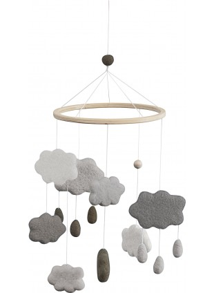 Sebra Filz-Mobile Wolken Warm Grey