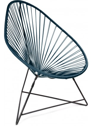 Boqa Acapulco Chair Design-Sessel Schwarz/Petrol
