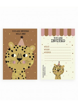 Studio Loco Einladungskarte Geburtstag Leopard 6er Pack kaufen - Kleine Fabriek