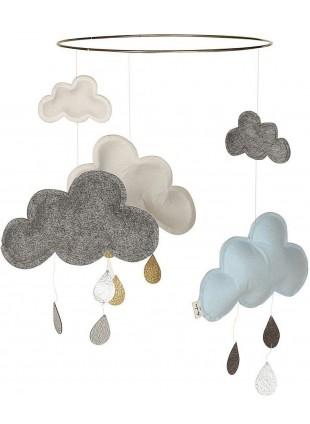 Konges Sløjd Mobile Wolke Blueberry Blau/Grau Melange/Weiß