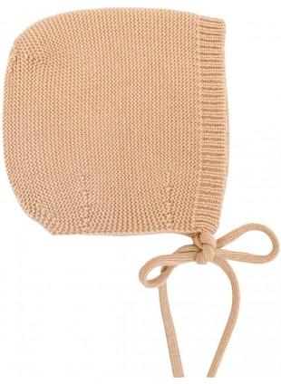 hvid Strick-Babymütze Dolly Merino Apricot