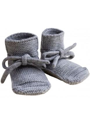 hvid Strick-Babyschuhe Grey Melange kaufen - Kleine Fabriek