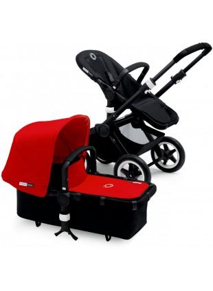 Bugaboo Buffalo Kinderwagen Set Schwarz / red
