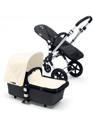 Bugaboo Cameleon 3 Kinderwagen Set Silber / dark grey off white
