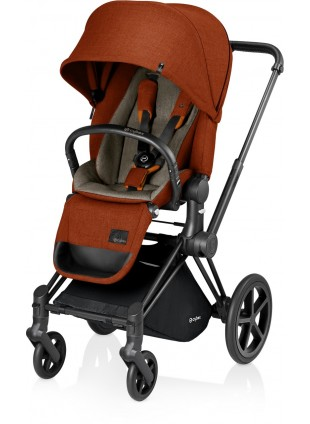 Cybex Priam Kinderwagen Set Schwarz / Autumn Gold mit Lux Sitz