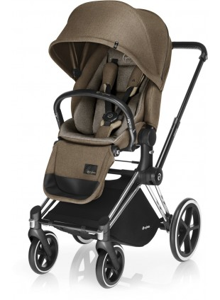 Cybex Priam Kinderwagen Set Chrome / Casmere Beige mit Lux Sitz