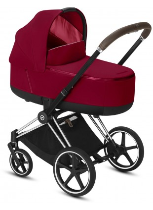 Priam Kinderwagen Set True Red mit Gestell Chrome Braun - Kleine Fabriek