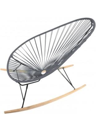 Boqa Acapulco Chair Wood Rocker Design-Schaukelstuhl Schwarz/Dunkelgrau - Kleine Fabriek
