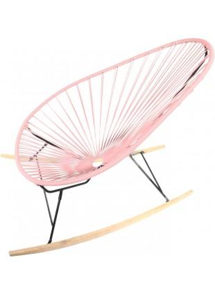 Boqa Acapulco Chair Wood Rocker Design-Schaukelstuhl Schwarz/Rosa - Kleine Fabriek