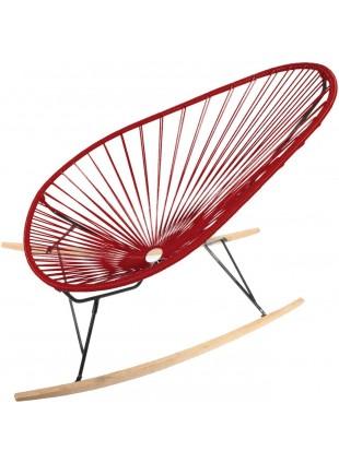 Boqa Acapulco Chair Wood Rocker Design-Schaukelstuhl Schwarz/Weinrot - Kleine Fabriek