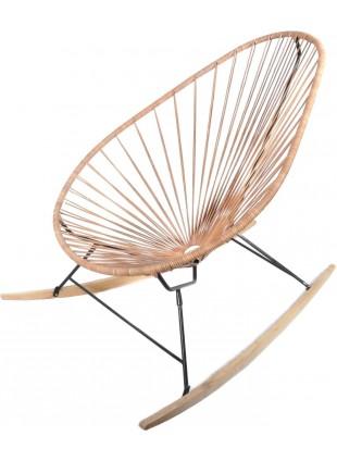 Boqa Acapulco Chair Wood Rocker Design-Schaukelstuhl Schwarz/Leder - Kleine Fabriek