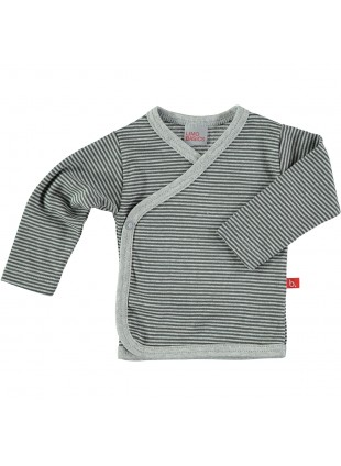 limobasics Langarm Baby-Shirt 62 Kimono Grey Stripes - Kleine Fabriek