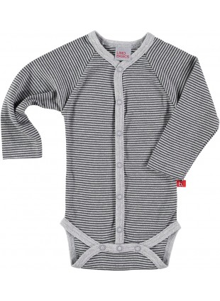 limobasics Langarm Baby-Body Japan Grey Stripes - Kleine Fabriek