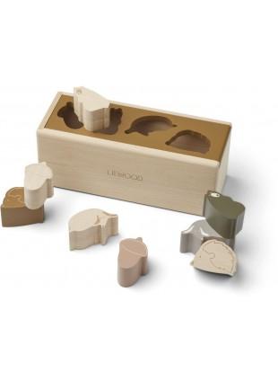 Liewood Sortierbox Steck-Puzzle Midas Friendship Golden Caramel Multi Mix