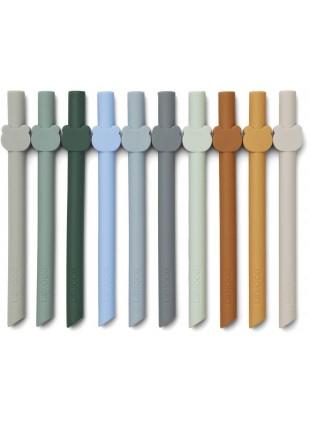 Silikon Trinkhalm Set Badu Blue Wave Multi Mix von Liewood kaufen - Kleine Fabriek
