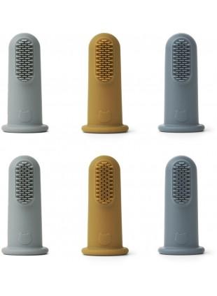 Liewood Finger-Zahnbürste Simon 6er-Pack Blue Multi Mix